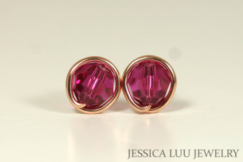 14K rose gold filled wire wrapped fuchsia pink purple Swarovski crystal round stud earrings handmade by Jessica Luu Jewelry