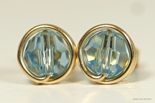14k yellow gold filled wire wrapped aquamarine blue Swarovski crystal round stud earrings handmade by Jessica Luu Jewelry