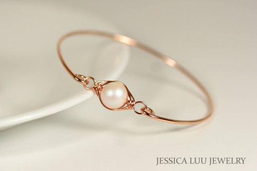Handmade 14k rose gold filled wire wrapped pearlescent white Swarovski pearl bangle bracelet