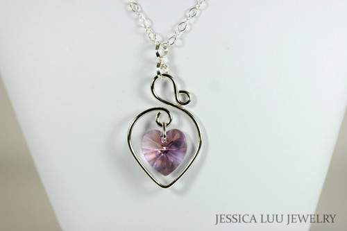 Sterling silver wire wrapped light rose pink blue shade crystal heart pendant on chain necklace handmade by Jessica Luu Jewelry