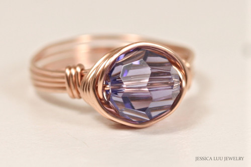 14K rose gold filled wire wrapped tanzanite blue purple Swarovski crystal solitaire ring handmade by Jessica Luu Jewelry