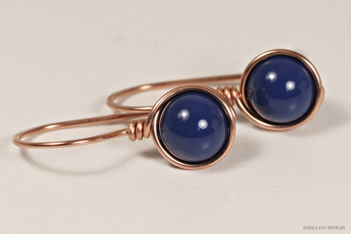 14K rose gold filled wire wrapped dark lapis blue Swarovski pearl drop earrings handmade by Jessica Luu Jewelry