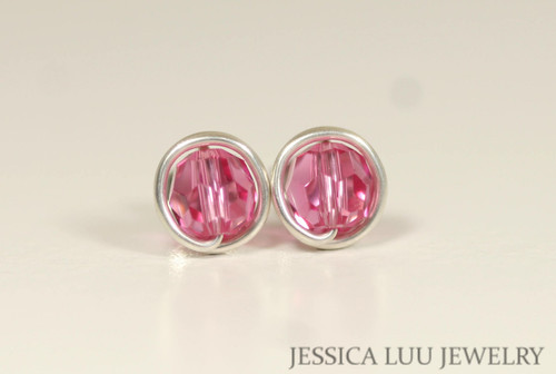 Sterling silver wire wrapped rose pink Swarovski crystal round stud earrings handmade by Jessica Luu Jewelry