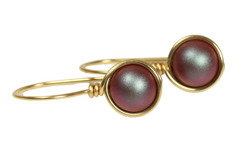 14K yellow gold filled wire wrapped iridescent red pearl drop earrings handmade by Jessica Luu Jewelry