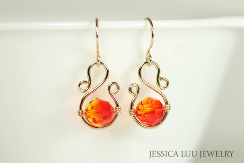 14K yellow gold filled wire wrapped orange red fire opal Swarovski crystal dangle earrings handmade by Jessica Luu Jewelry