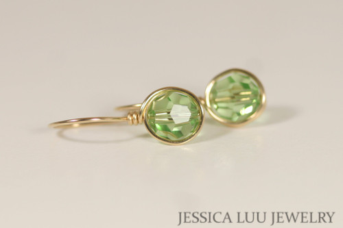 14K yellow gold filled wire wrapped peridot light green Swarovski crystal drop earrings handmade by Jessica Luu Jewelry