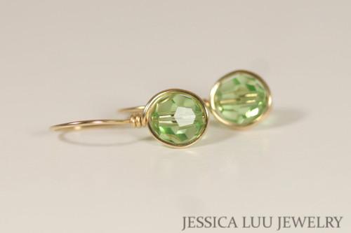 14K yellow gold filled wire wrapped peridot light green Swarovski crystal drop earrings handmade by Jessica Luu Jewelry
