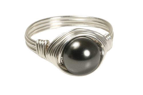 Sterling silver wire wrapped black Swarovski pearl solitaire ring handmade by Jessica Luu Jewelry