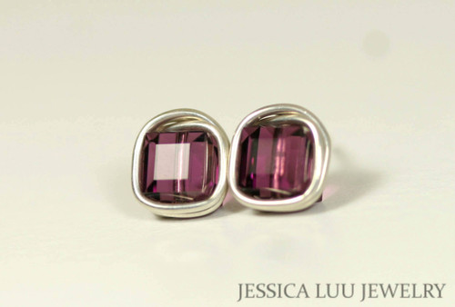 Sterling silver wire wrapped amethyst purple Swarovski crystal square cube stud earrings handmade by Jessica Luu Jewelry