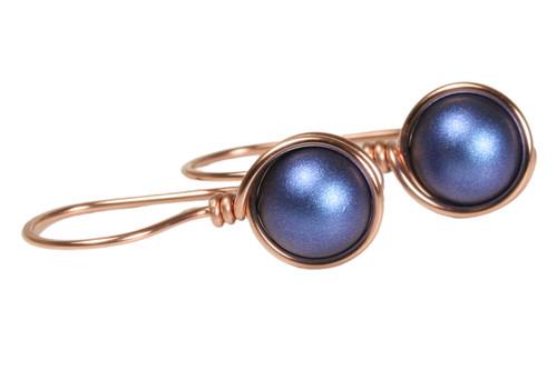 14K rose gold filled wire wrapped iridescent dark blue Swarovski pearl drop earrings handmade by Jessica Luu Jewelry