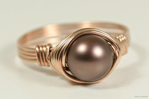 14K rose gold filled wire wrapped velvet dark brown Swarovski pearl solitaire ring handmade by Jessica Luu Jewelry