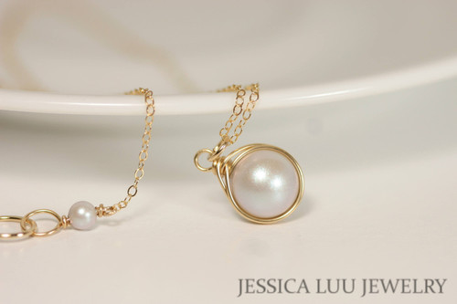 14K yellow gold filled wire wrapped iridescent dove grey Swarovski pearl solitaire pendant on chain necklace handmade by Jessica Luu Jewelry