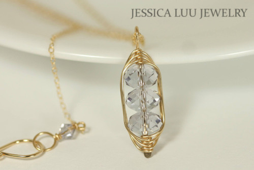14K yellow gold filled herringbone wire wrapped light purple smoky mauve three stone Swarovski crystal pendant on chain necklace handmade by Jessica Luu Jewelry