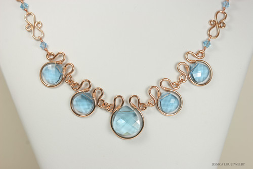 14K rose gold filled wire wrapped aquamarine blue crystal flat briolette statement necklace handmade by Jessica Luu Jewelry