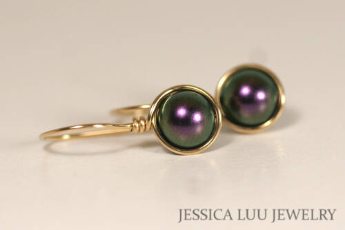 14K yellow gold filled wire wrapped iridescent purple Swarovski pearl drop earrings handmade by Jessica Luu Jewelry