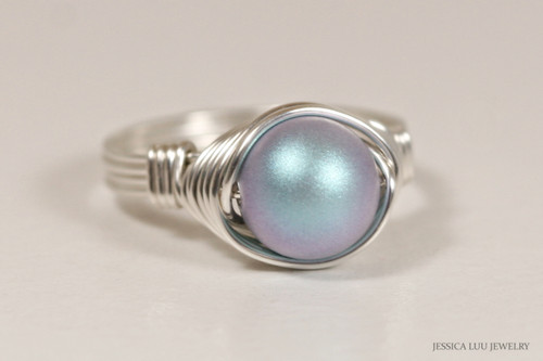 Sterling Silver Iridescent Light Blue Pearl Ring - Other Metal Options Available