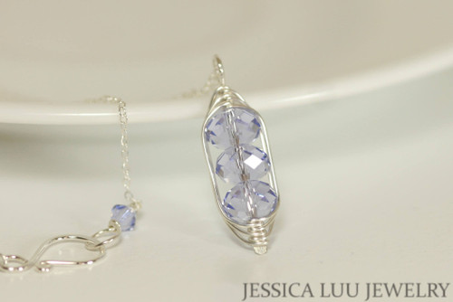 Sterling silver herringbone wire wrapped light purple Provence lavender Swarovski crystal three stone pendant on chain necklace handmade by Jessica Luu Jewelry