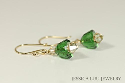 14K yellow gold filled dark moss green golden shadow Swarovski crystal bell dangle earrings handmade by Jessica Luu Jewelry