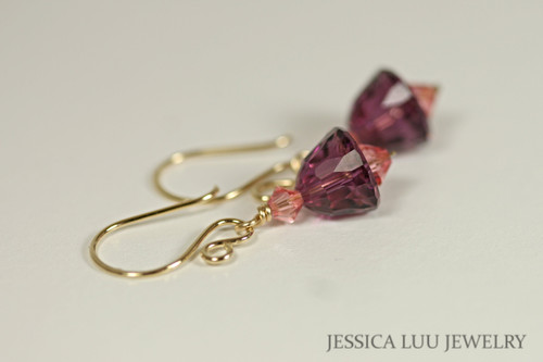 14K yellow gold filled amethyst purple rose peach Swarovski crystal dangle earrings handmade by Jessica Luu Jewelry