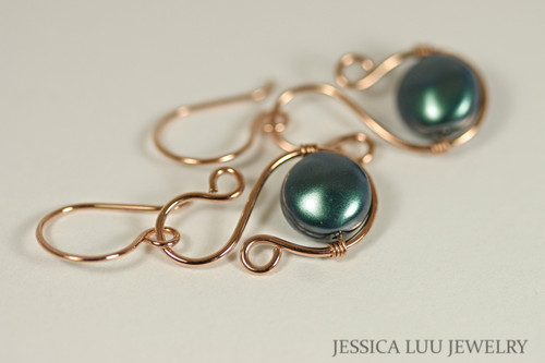 14K rose gold filled wire wrapped iridescent Tahitian peacock Swarovski flat coin pearl dangle earrings handmade by Jessica Luu Jewelry