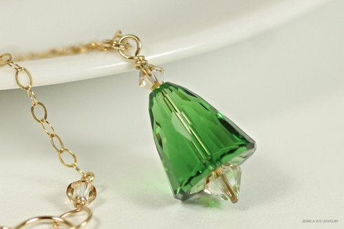 14K yellow gold filled dark moss green and golden shadow crystal pendant on chain necklace handmade by Jessica Luu Jewelry