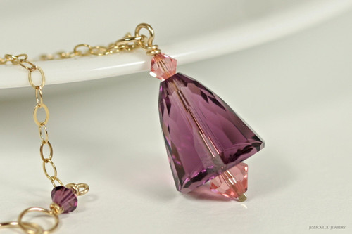 14K yellow gold filled amethyst purple and blush rose pink Swarovski crystal pendant on chain necklace handmade  by Jessica Luu Jewelry
