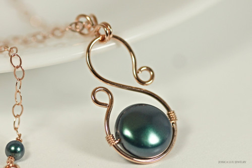 14K rose gold filled wire wrapped iridescent Tahitian Swarovski flat coin pearl pendant on chain necklace handmade by Jessica Luu Jewelry