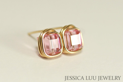 14K yellow gold filled wire wrapped light pink rose Swarovski crystal cube square stud earrings handmade by Jessica Luu Jewelry