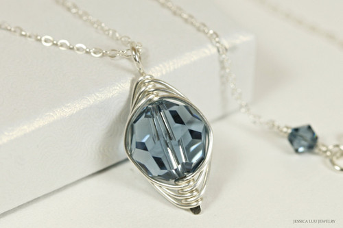 Sterling silver herringbone wire wrapped denim blue Swaroski crystal solitaire pendant on chain necklace handmade by Jessica Luu Jewelry