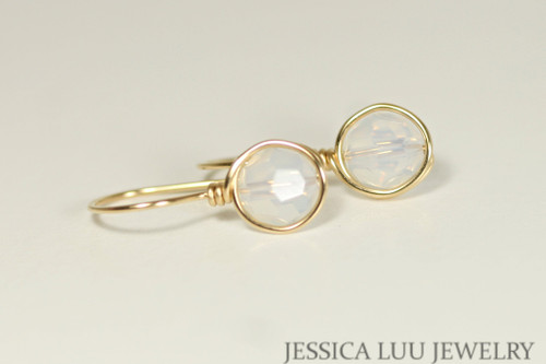 14K yellow gold filled wire wrapped white opal Swaroski crystal drop earrings handmade by Jessica Luu Jewelry