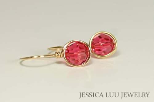 14K yellow gold filled wire wrapped Indian pink Swarovski crystal drop earrings handmade by Jessica Luu Jewelry