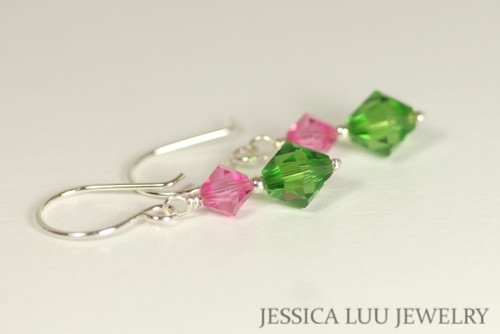 Sterling silver rose pink dark moss green Swarovski crystal dangle earrings handmade by Jessica Luu Jewelry