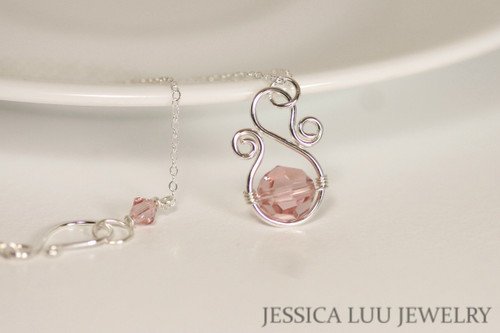 Sterling Silver Soft Pink Swarovski Crystal Necklace - Available with Matching Earrings