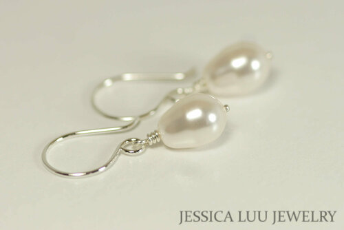 Sterling silver white Swarovski teardrop pearl dangle earrings handmade by Jessica Luu Jewelry