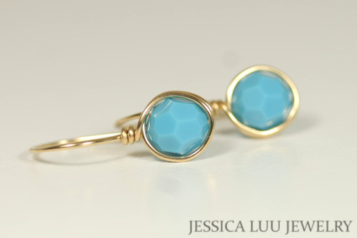 Gold Turquoise Blue Swarovski Crystal Earrings - Other Metal Options Available