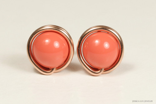 14K rose gold filled wire wrapped orange coral pearl stud earrings handmade by Jessica Luu Jewelry
