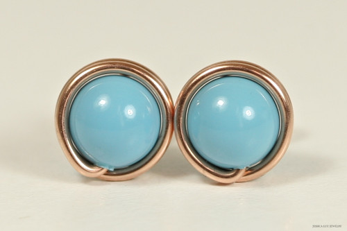 14K rose gold filled wire wrapped turquoise blue Swarovski pearl stud earrings handmade by Jessica Luu Jewelry