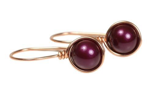 14K rose gold filled wire wrapped blackberry purple pearl drop earrings handmade by Jessica Luu Jewelry