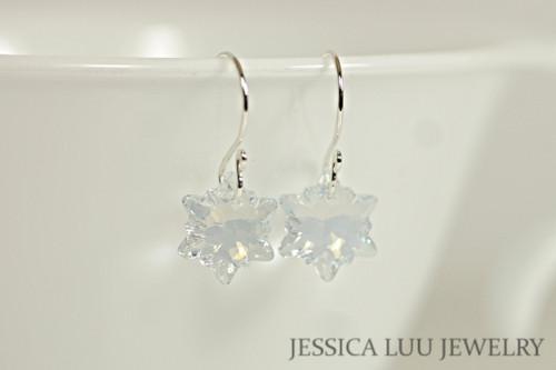 Sterling silver light blue shade crystal edelweiss snowflake dangle earrings handmade by Jessica Luu Jewelry