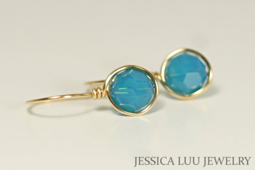 14K yellow gold filled wire wrapped turquoise Caribbean blue opal Swarovski crystal drop earrings handmade by Jessica Luu Jewelry