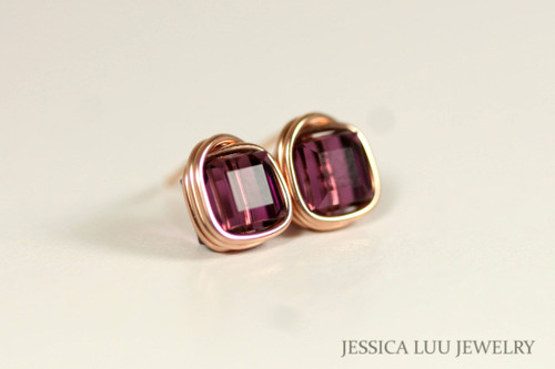 14K rose gold filled wire wrapped amethyst purple Swarovski crystal square cube stud earrings handmade by Jessica Luu Jewelry
