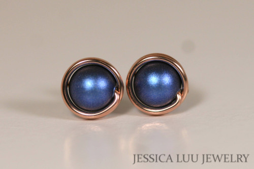 14K rose gold filled wire wrapped iridescent dark blue Swarovski pearl stud earrings handmade by Jessica Luu Jewelry
