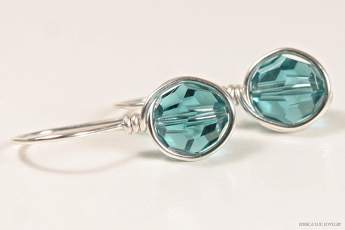Sterling silver wire wrapped teal blue indicolite Swarovski crystal drop earrings handmade by Jessica Luu Jewelry