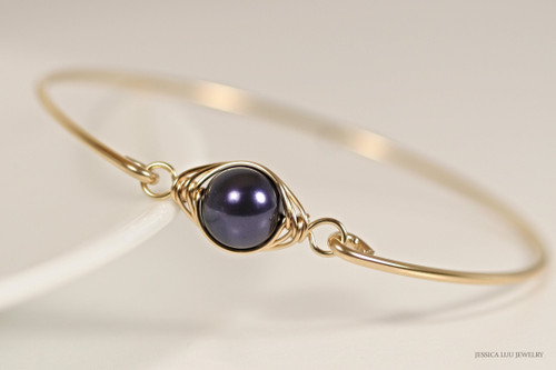 14K yellow gold filled wire wrapped bangle bracelet with dark purple Swarovski pearl handmade by Jessica Luu Jewelry