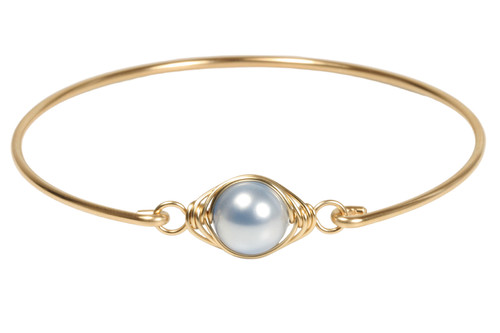 Handmade 14k yellow gold filled wire wrapped bangle bracelet with light blue pearl by Jessica Luu Jewelry