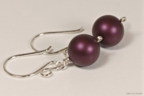 Sterling silver wire wrapped elderberry dark purple Swarovski pearl dangle earrings handmade by Jessica Luu Jewelry