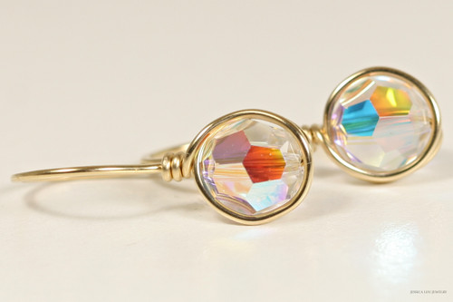 14K yellow gold filled wire wrapped iridescent clear aurora borealis Swarovski crystal drop earrings handmade by Jessica Luu Jewelry