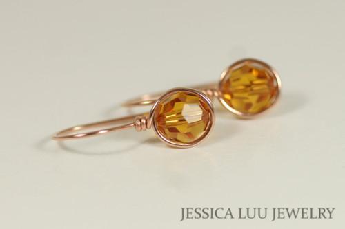 14K rose gold filled wire wrapped orange topaz Swarovski crystal drop earrings handmade by Jessica Luu Jewelry