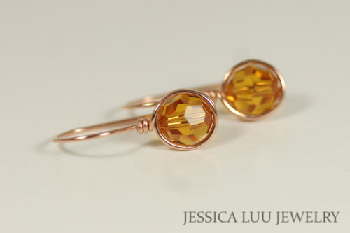 14K rose gold filled wire wrapped orange topaz Swarovski crystal drop earrings handmade by Jessica Luu Jewelry