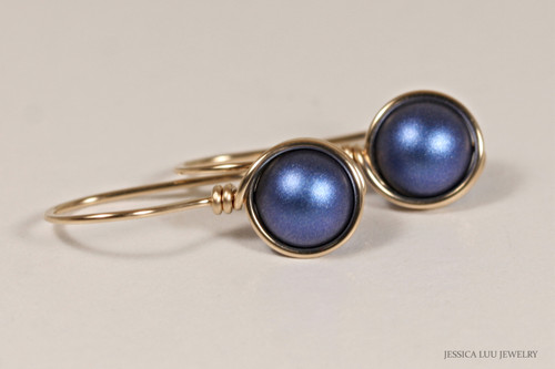 14K yellow gold filled wire wrapped iridescent dark blue Swarovski pearl earrings handmade by Jessica Luu Jewelry